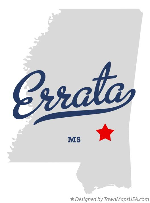 Map of Errata Mississippi MS
