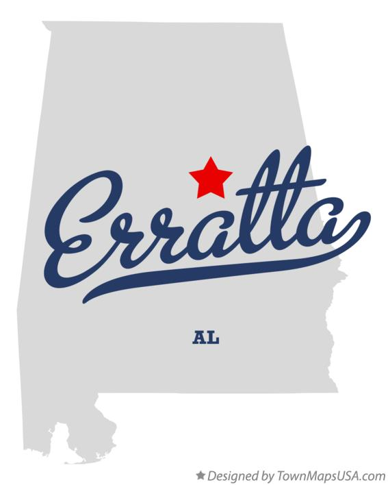 Map of Erratta Alabama AL