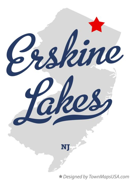 Map of Erskine Lakes New Jersey NJ