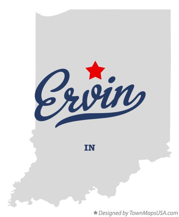 Map of Ervin Indiana IN