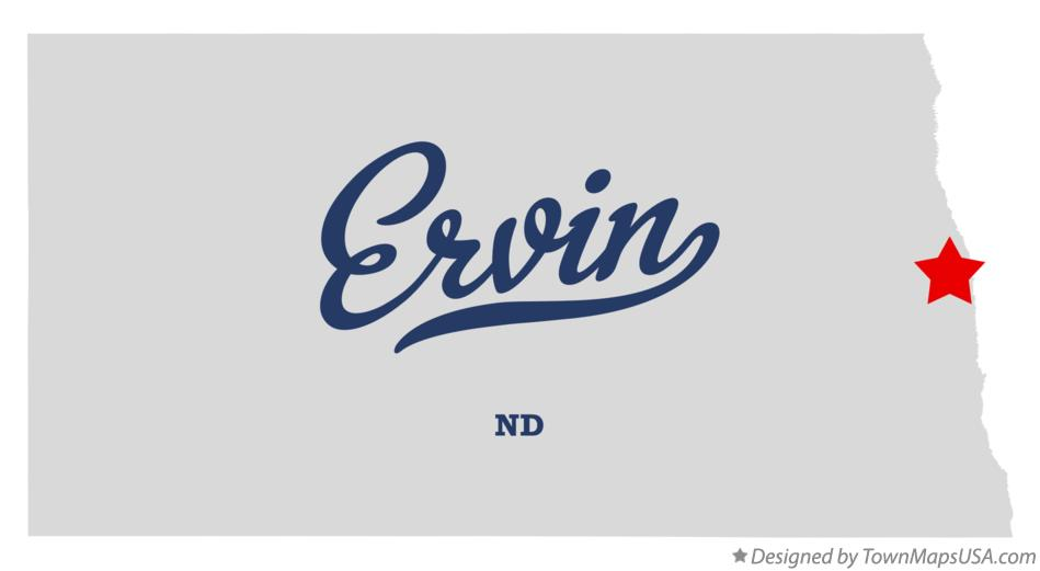 Map of Ervin North Dakota ND