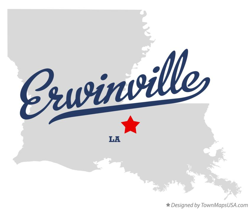 Map of Erwinville Louisiana LA