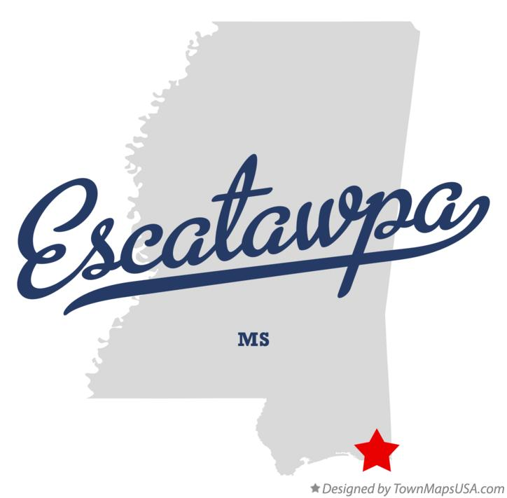 Map of Escatawpa Mississippi MS