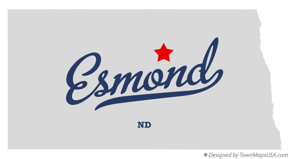 Map of Esmond North Dakota ND