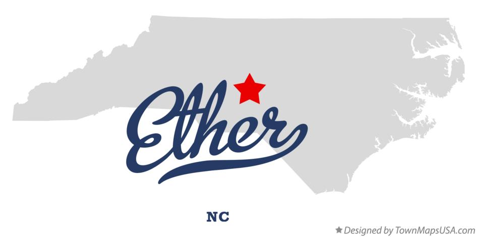 Map of Ether North Carolina NC