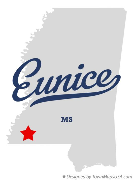 Map of Eunice Mississippi MS