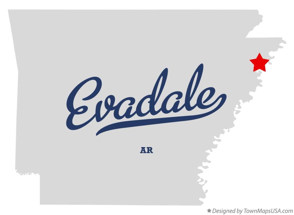 Map of Evadale Arkansas AR