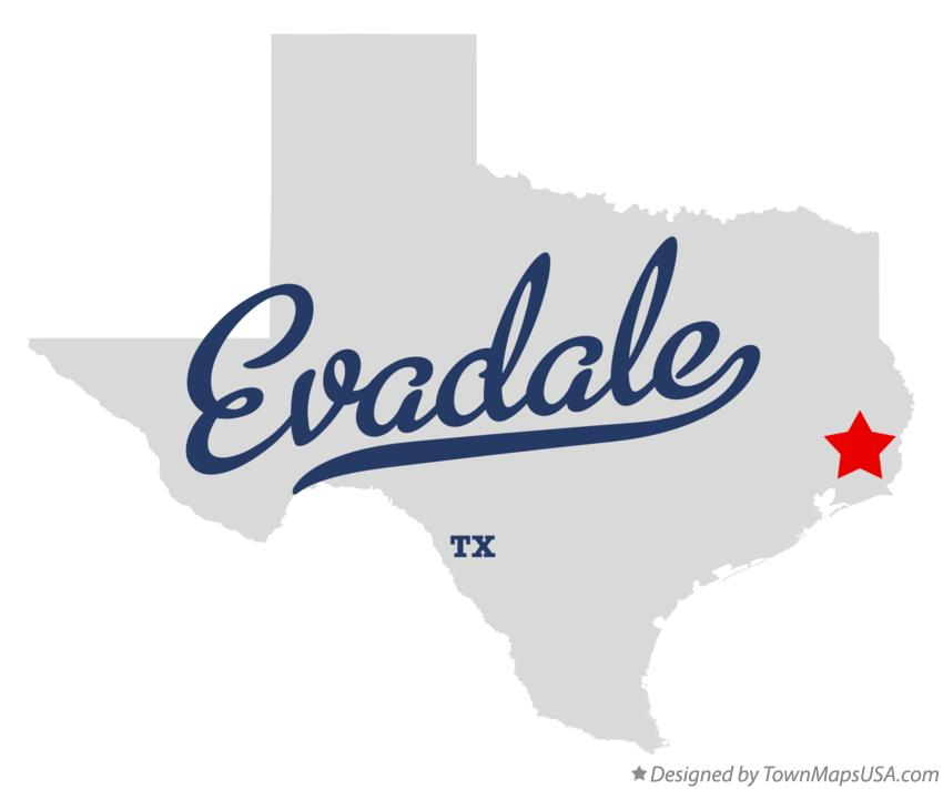 Map of Evadale Texas TX