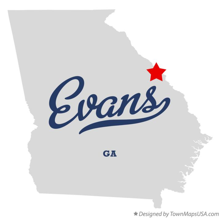 Map of Evans Georgia GA