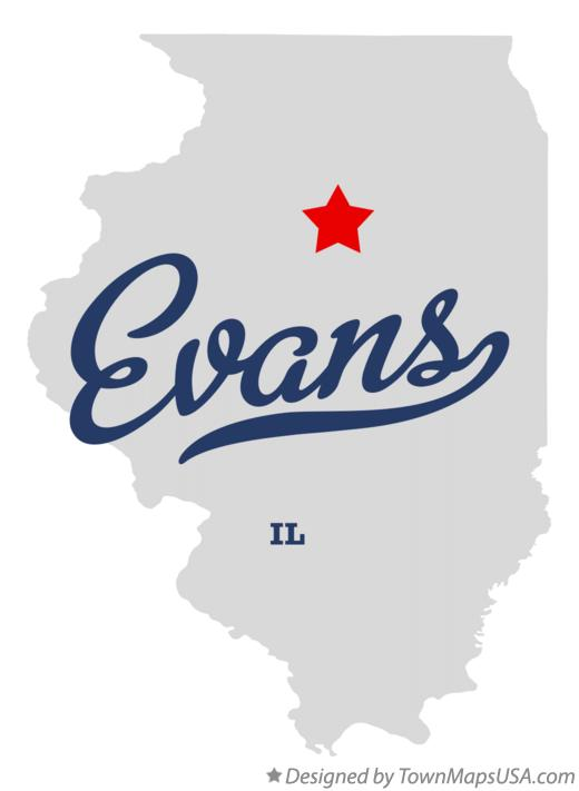 Map of Evans Illinois IL