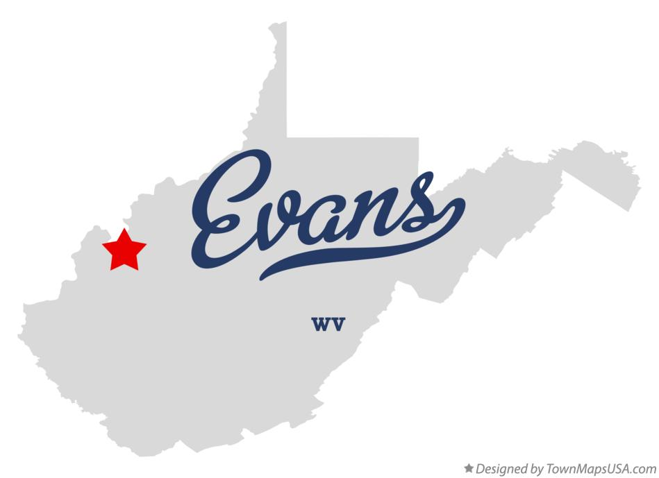 Map of Evans West Virginia WV