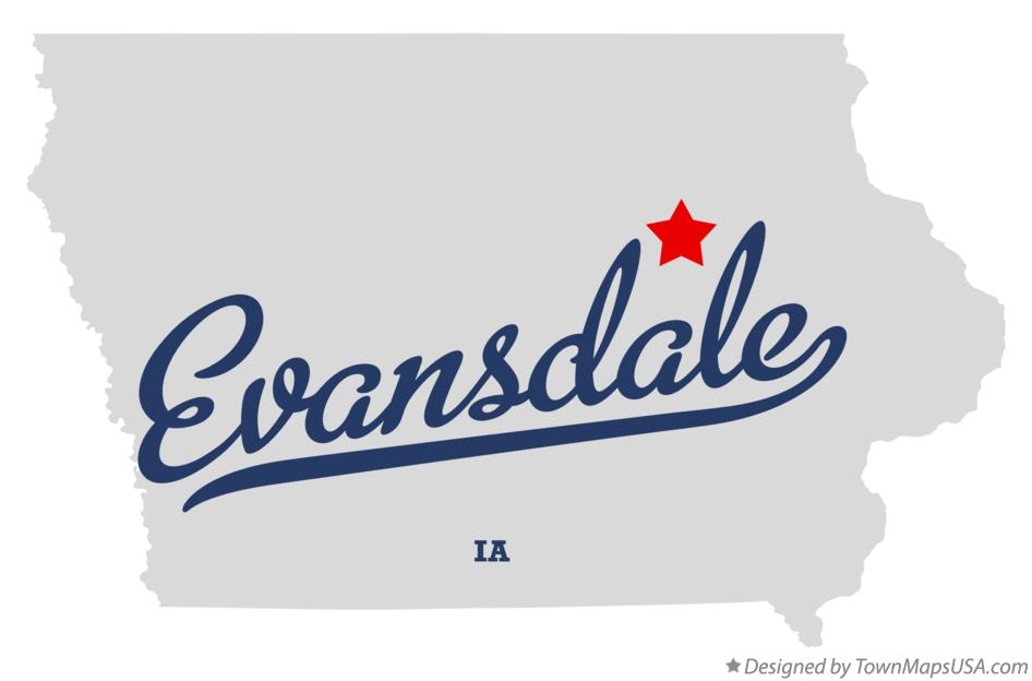 Map of Evansdale Iowa IA