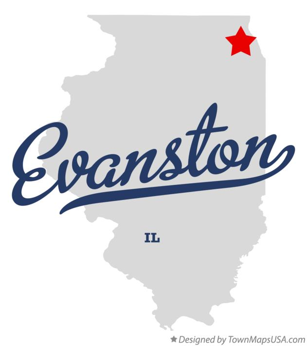 Map of Evanston Illinois IL