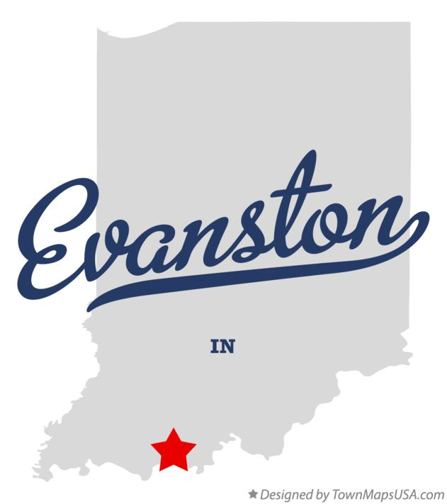 Map of Evanston Indiana IN