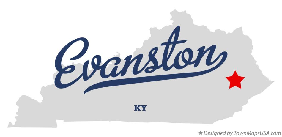 Map of Evanston Kentucky KY