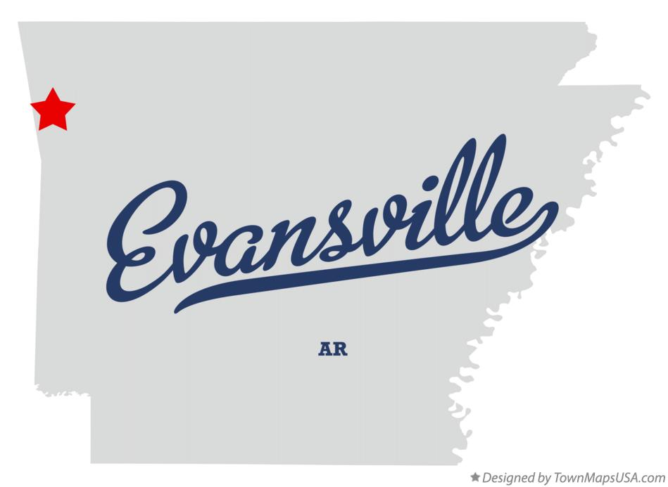 Map of Evansville Arkansas AR