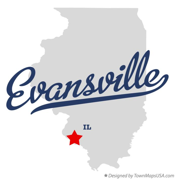 Map of Evansville Illinois IL