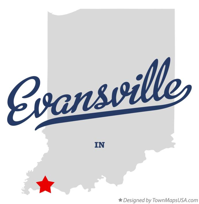 Map of Evansville Indiana IN