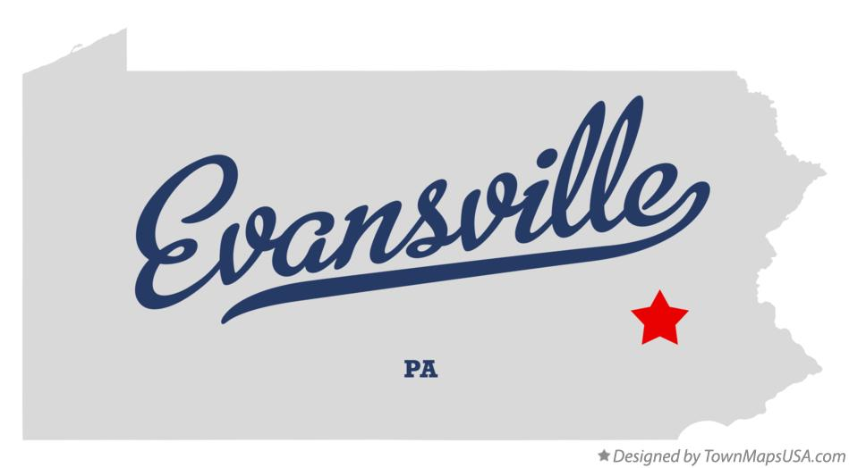 Map of Evansville Pennsylvania PA