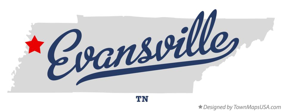 Map of Evansville Tennessee TN
