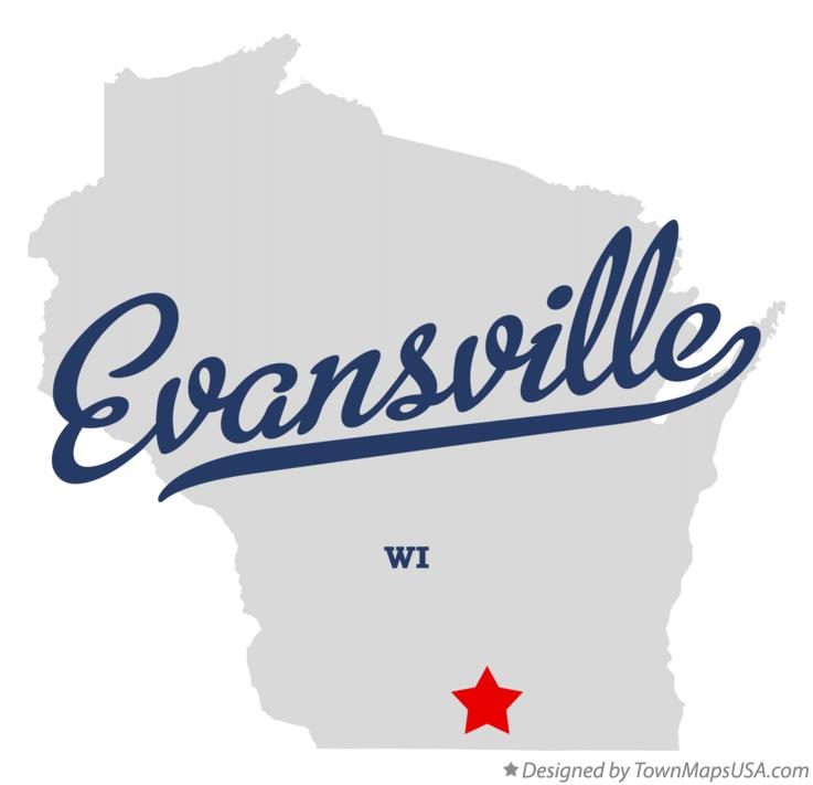 Map of Evansville Wisconsin WI