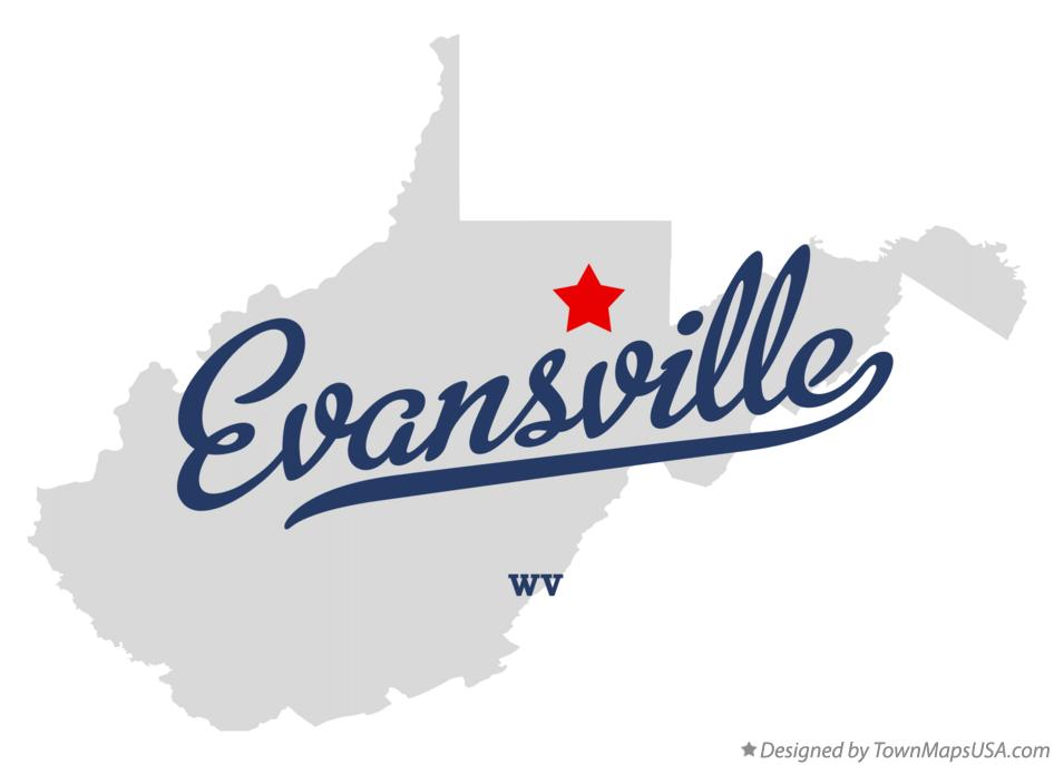 Map of Evansville West Virginia WV