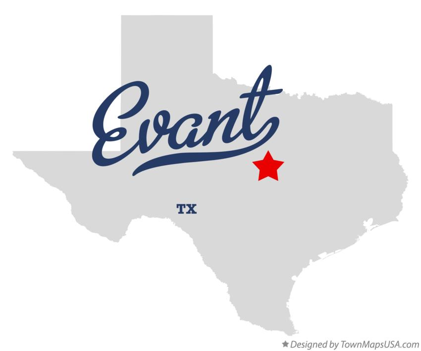 Map of Evant Texas TX