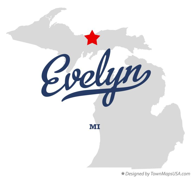 Map of Evelyn Michigan MI