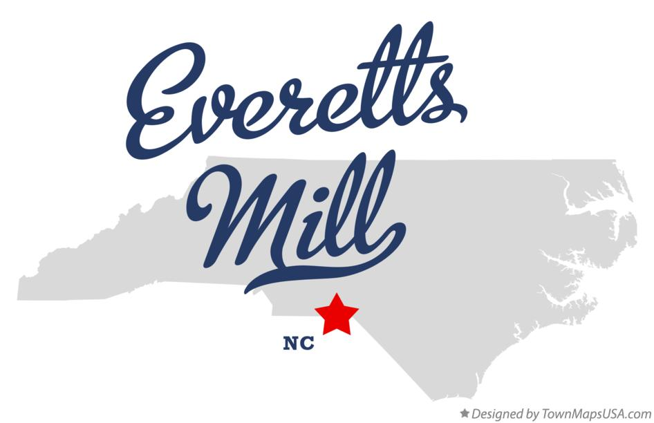 Map of Everetts Mill North Carolina NC