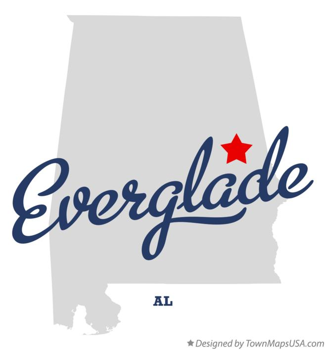 Map of Everglade Alabama AL