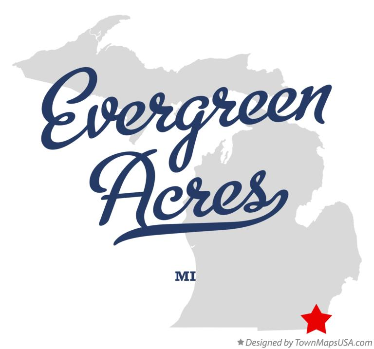 Map of Evergreen Acres Michigan MI