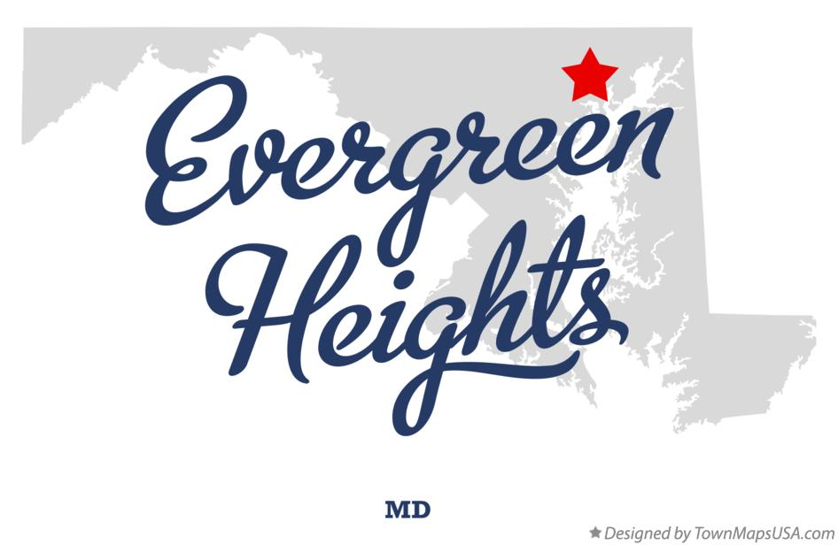 Map of Evergreen Heights Maryland MD