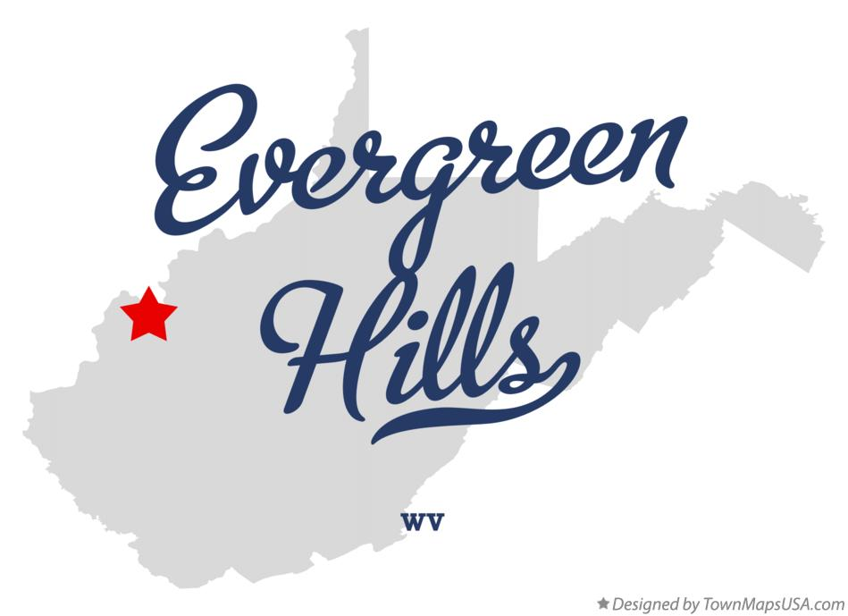 Map of Evergreen Hills West Virginia WV