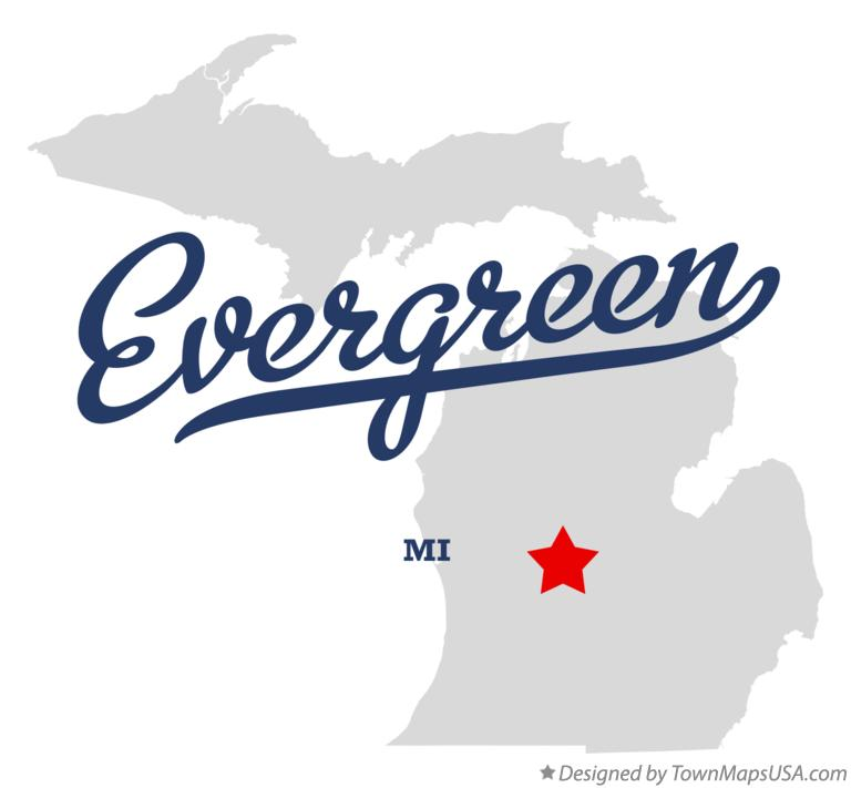 Map of Evergreen Michigan MI