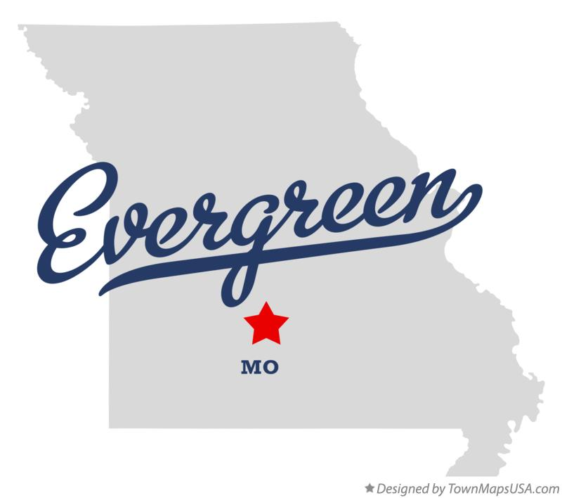 Map of Evergreen Missouri MO