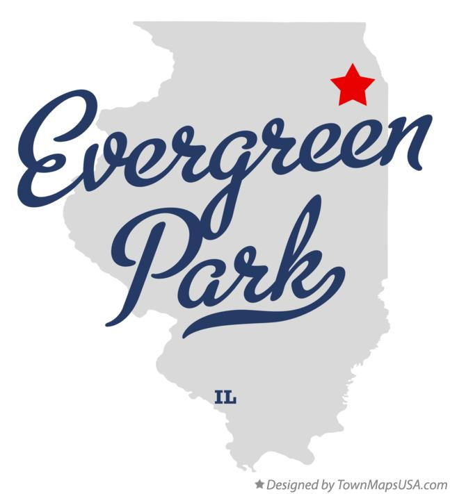 Map of Evergreen Park Illinois IL