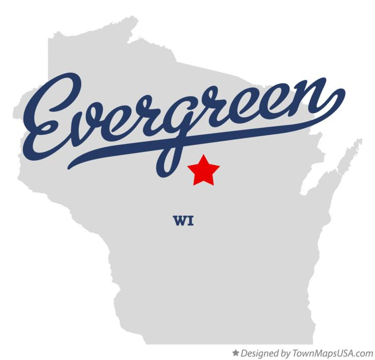 Map of Evergreen Wisconsin WI