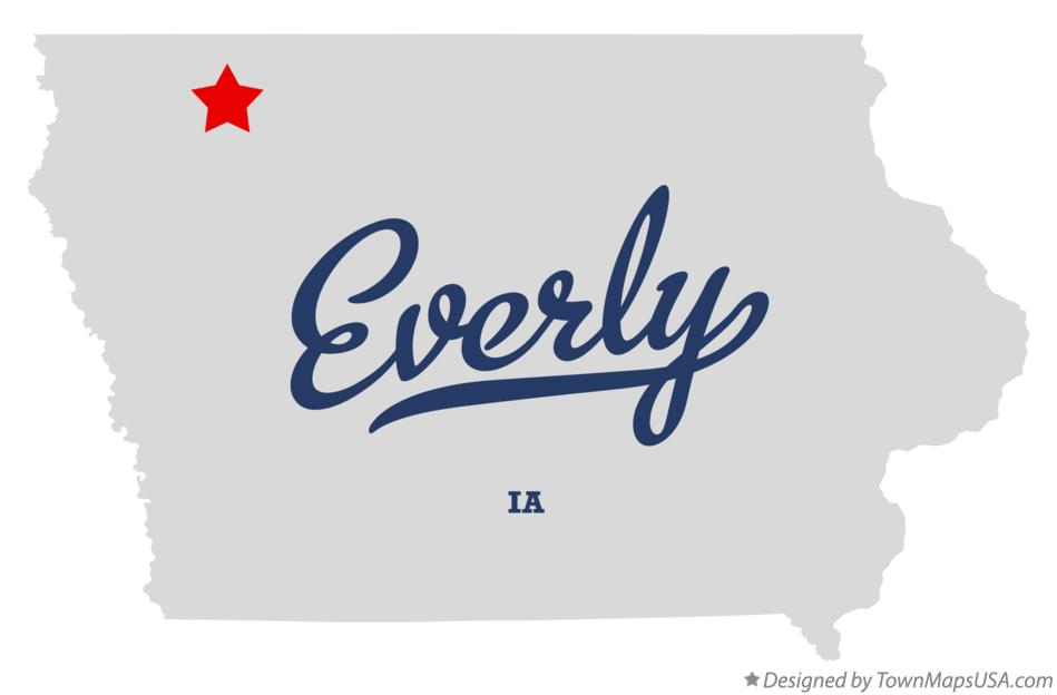Map of Everly Iowa IA