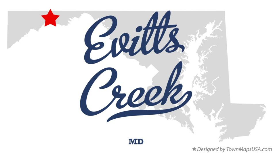 Map of Evitts Creek Maryland MD