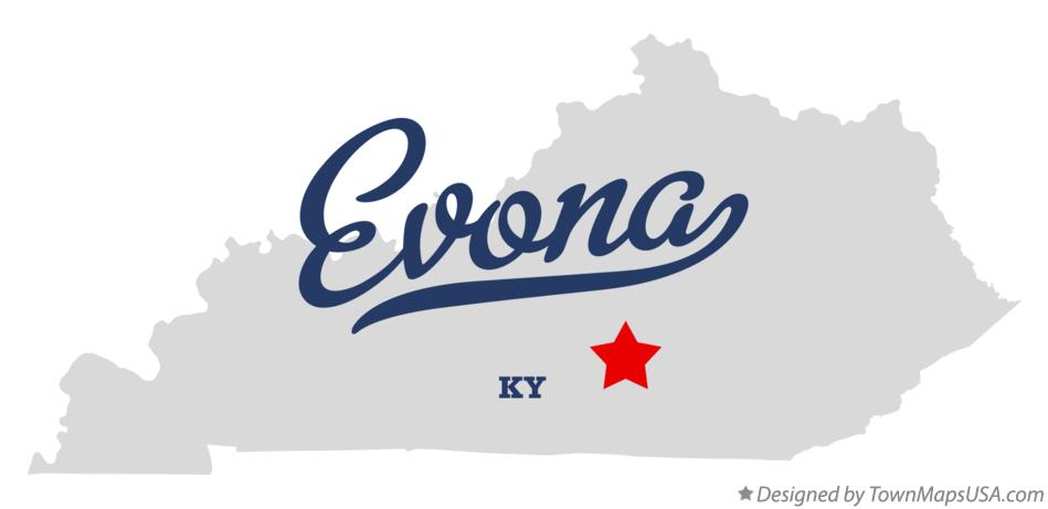 Map of Evona Kentucky KY