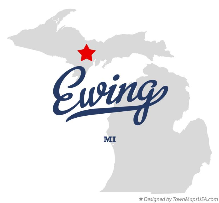 Map of Ewing Michigan MI