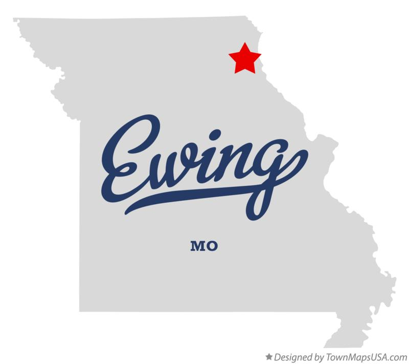 Map of Ewing Missouri MO