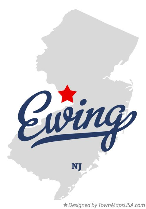 Map of Ewing New Jersey NJ