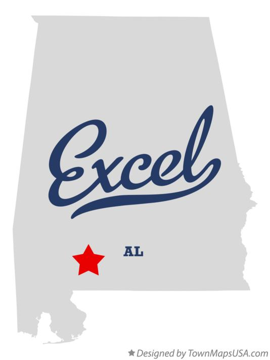 Map of Excel Alabama AL