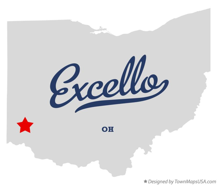 Map of Excello Ohio OH