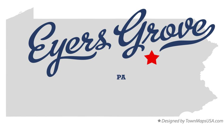 Map of Eyers Grove Pennsylvania PA