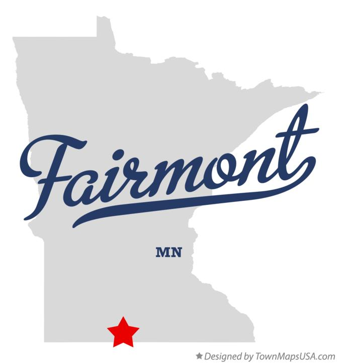 Map of Fairmont Minnesota MN