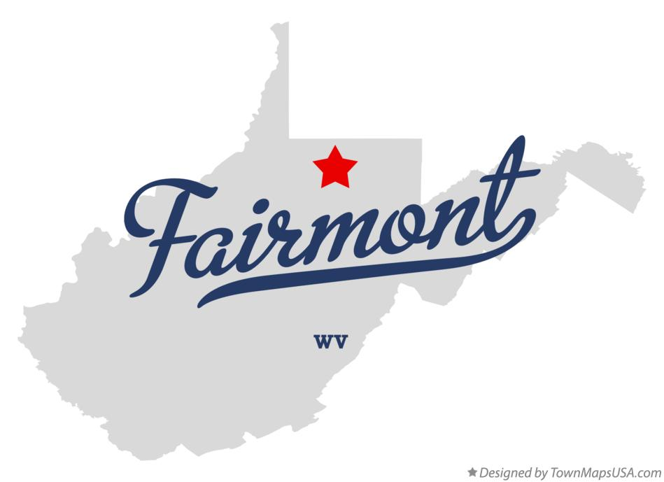 Map of Fairmont West Virginia WV