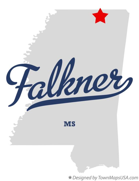 Map of Falkner Mississippi MS