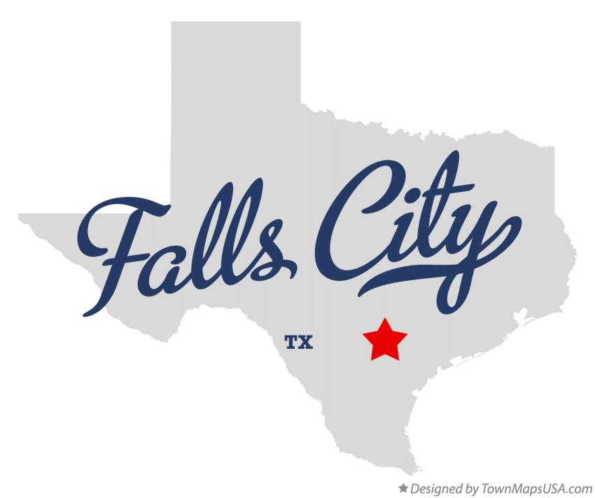 Map of Falls City Texas TX